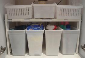 洗面台下収納を二段にして前面を揃えた画像