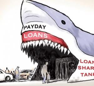 サメの姿の銀行に親子が入っていく画像