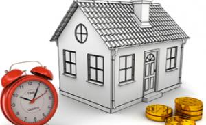家と時計・お金の模型画像