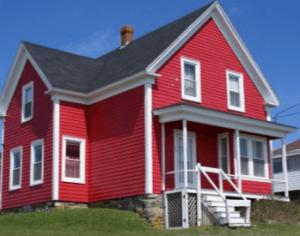 ツーバイフォー住宅赤い外壁ラップサイディングの家の画像