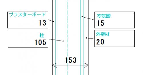 在来工法の平面図壁の厚さの画像