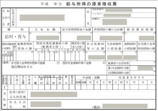 確定申告に必要な源泉徴収票の画像