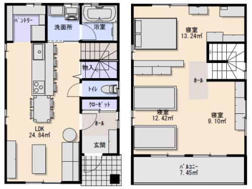 1000万円の家の間取り左が1階で右が2階の画像
