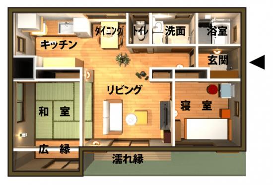 1000万円の平屋住宅の間取り画像