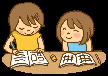 宿題をする子供たち二人のイラスト画像