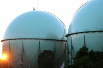 都市ガスのガスタンクの画像