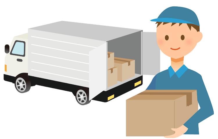 引越し業者のトラックと作業員のイラスト画像