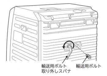 ドラム式乾燥機の輸送用ボルト取り付け位置の画像