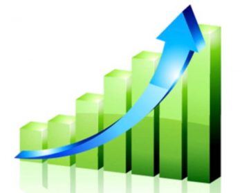 上昇棒グラフの画像