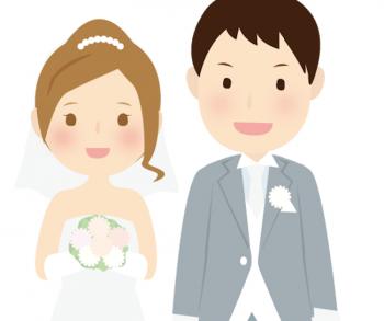 ジューンブライドに結婚した夫婦のイラスト画像