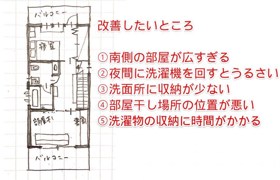 家事動線(洗濯)を改善したい実際の間取りの画像