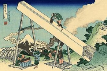 葛飾北斎の描いた大工の画像