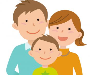 引越費用の相場がわかって喜ぶ3人家族のイラスト画像